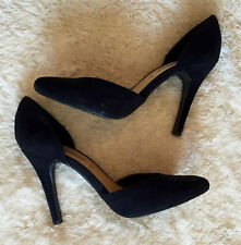 Well Worn Used New Look Black Faux Suede Point Toe Stiletto Heel Court Shoes- 5