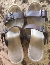 Old Navy Women's Wedge Sandals Shoes 6 Brown With Buckles