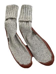 Acorn Comfort On Earth Men's Size 10 1/2 - 11 1/2 Gray Rag Wool Slipper Socks