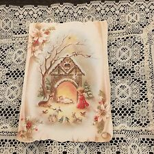 Vintage Greeting Card Christmas Baby Jesus Manger Angel Animals