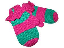 Polo Ralph Lauren Pink Palm Green Wool Cotton Girls Mittens Gloves