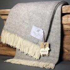 BRONTE Natural Wool Collection Throw Blanket Herringbone Grey & Cream Made in UK