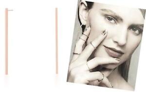 """Minimalist Jewelry"" Long Thin Geometric S/S Rose Gold Tone Stick Post Earrings"