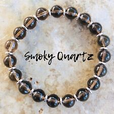 Men Women Smoky Quartz Bracelet Gemstone Sterling Silver Bead DIY-KAREN 455