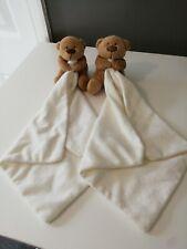 cream White  Brown Teddy Bear Baby Comforter