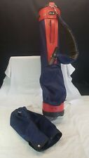 Dura Bag 3 Partition Golf Bag Red & Blue Canvas Carried or Trolley Plus Hood