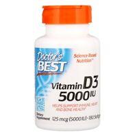 Doctor's Best, Vitamin D3, 125 mcg (5000 IU), 180 Softgels