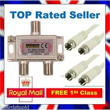 2 Way TV Satellite Cable Splitter Tee Kit Joins SKY+ to Skybox F3 F5 F5S K11