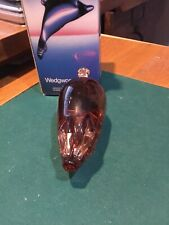 Wedgwood Glass Topaz Pig 2.25 Inch Height