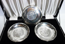Four Vintage Silver Chinese Coin Dishes in Original Box, Hong Kong