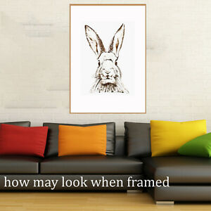 Vintage art poster Canvas Bunny rabbit drawing painting old for glass frame 36""