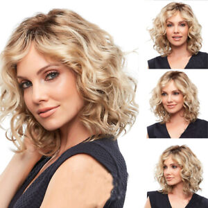 100% Natural Glueless Brazilian Human Hair Lace Wig Blonde Brown Curly Short Wig