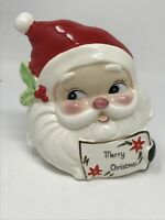 Vintage Ceramic Santa Head Christmas Card Napkin Holder Josef Originals