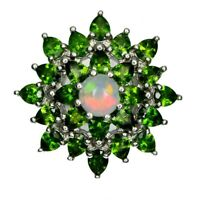 TOP OPAL & DIOPSIDE RING : Natürliche Edel Opal und Diopsid Ring Gr.18 R161