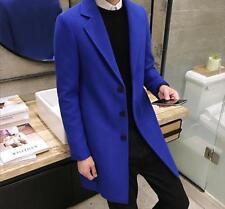 Korean Men's Slim Lapel Wool Blend Long Jacket Outwear Winter Warm Trench Coats
