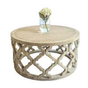 Hamptons Style French Provincial Round Coffee Table Oak Wood Quatrefoil Carved