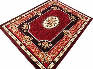 Traditional Floral Living Dining Bed Drawing Room Rug Carpet Red 6 X 8 Feet