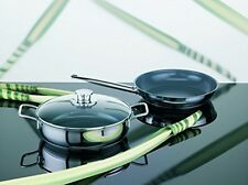 Green Life Stainless Steel Frying Pan With Glass Lid Size: 28cm UK POST FREE