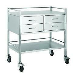 Stainless Steel Trolley with 4 drawers 80cm wide