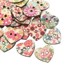 Floral Heart shaped Wooden Buttons 25mm - Pack of 5 - Sewing / Scrapbooking