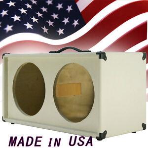 2x12 Guitar Speaker empty Cabinet White Texture Tolex Strait front shape