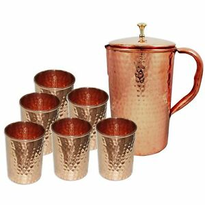 Indian Copper Water Hammered Jug Pitcher 6 Glass Mug Cup Tumbler Health Beanfit
