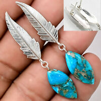 Feather - Silver Blue Turquoise 925 Sterling Silver Earrings Jewelry AE14735