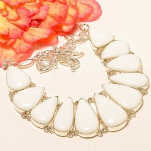 """White Coral Gemstone 925 Sterling Silver Handmade Necklace 16-18"""" M156"""
