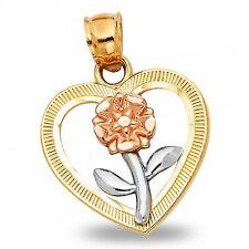 Rose Gold Charm Diamond Cut Fancy Flower Heart Pendant Solid 14k Yellow White
