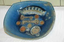 Large MidCentury Modern COINS/POCKET WATCH/  POTTERY ASHTRAY SIGNED HAYDEN LEWIS