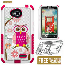 Daisy Owl Armor Case Kickstand Holster For LG Optimus L70 / LG Realm LS620