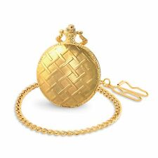 Edle Taschenuhr Classique Herrenuhr Stahl Gold Muster Verzierung Uhr mit Kette