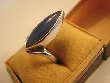 70iger Jahre Ring, 925, mittelblauer Stein, Größe 54