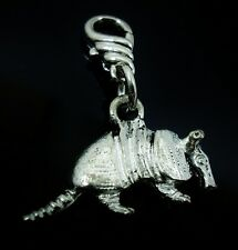 Armadillo 3D Pewter Clip on Charm fit Chain  Bracelet Texas Mammal
