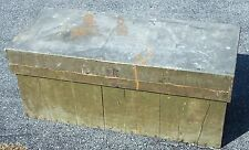 Old Rustic Country Green Painted Wood Tool Chest w/ Metal Top