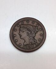 1851 Braided Hair Large Cent / Very Fine VF