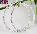 925 Sterling Silver Hoop Earrings Large Diamond Cut 50mm Twisted Rope Fast UK