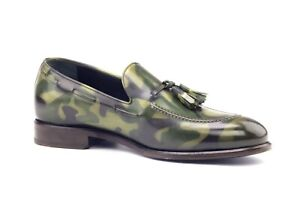New Men Handmade Camo patina leather loafers custom leather shoes replica