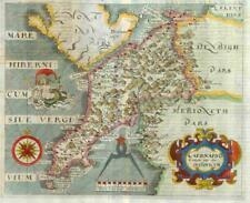 1607 - RARE 1st Edition Antique Map WALES CAERNARFONSHIRE Saxton Kip/Hole