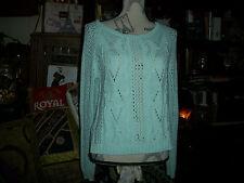 VKOO Sweet Baby Blue Boatneck Crochet Sweater Size S
