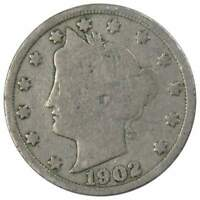 1902 Liberty Head V Nickel 5 Cent Piece G Good 5c US Coin Collectible