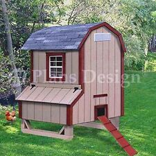 5'x4' Gambrel / Barn Style Chicken Poultry Coop Plans, 90504B (Free Chicken Run)
