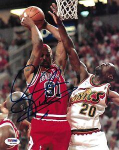 Dennis Rodman Signed Bulls Basketball 8x10 Photo PSA/DNA COA Picture Autograph