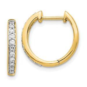 14K Yellow Gold Diamond Complete Hinged Hoop Earrings