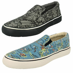 MENS SPERRY STRIPER S/O SLIP ON HAWAIIAN BLUE CASUAL CANVAS SUMMER SHOES