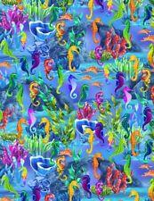 Nautical Fabric - Seahorse Coral Ocean Scene Blue - Timeless Treasures YARD