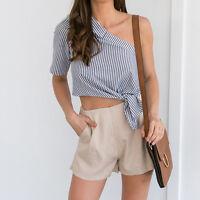 Women Off Shoulder Top Blouse Ruffles Short Sleeve Striped Shirt Loose Tops