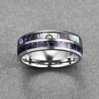 Ring Inlay Band Men's Shell Jewelry Wedding Carbide & Abalone Titanium steel 8MM