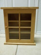 Wood and Glass Wall Display Cabinet Curio Shelf Hangs On Wall