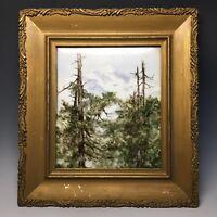 Alpine Landscape Oil Painting on Porcelain Evergreen Mountains & Pine Trees Art